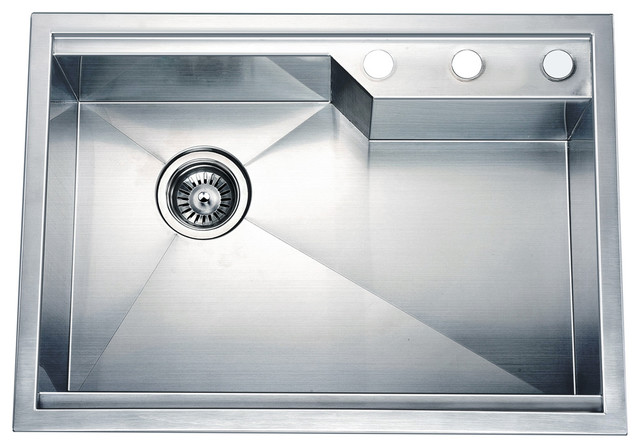 Dawn Dual Mount Square Single Bowl Sink With Rear Corner Drain And 3 Holes Contemporary