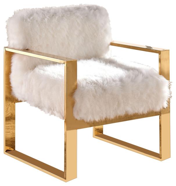 Milo Faux Fur Accent Chair, White