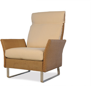 Lloyd Flanders Nova High Back Lounge Chair In Andiron Finish Contemporary