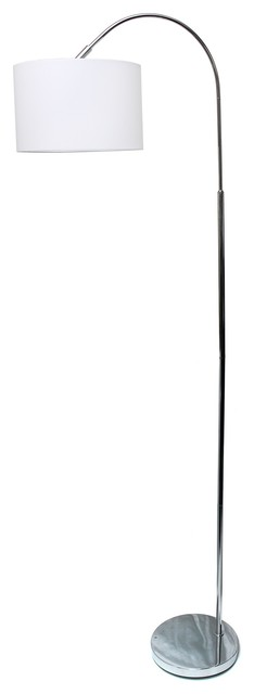 Simple Designs Arched Brushed Nickel Floor Lamp, White Shade.