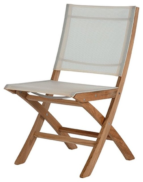 Barlow Tyrie Horizon Teak Folding Side Chair In Textilene Sling Living Room Chairs By