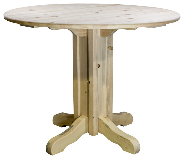 Homestead Collection Center Pedestal Table, Clear Lacquer Finish.