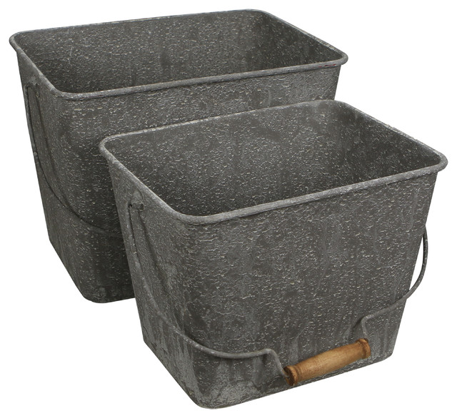 Set Of 2 Galvanized Metal Bin With Folding Handle, Distressed Washed Finish.