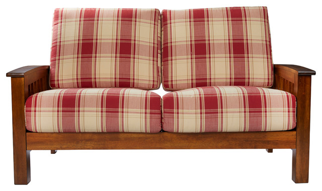 maison hill mission style loveseat with exposed wood frame red plaid farmhouse loveseats - Wood Frame Loveseat