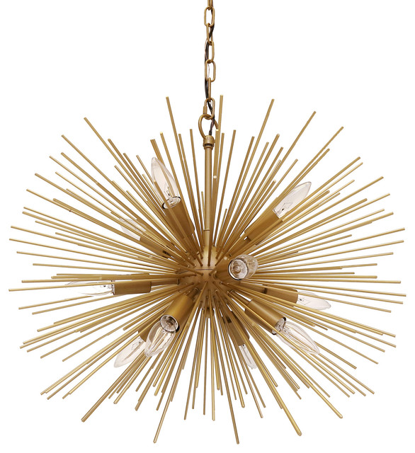 "Emme Starburst 12 Light, Brushed Gold Sputnik Chandelier, Brushed Gold, 24""."