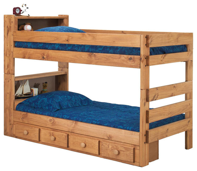 Chelsea Home Twin Over Twin Bookcase Bunk Bed In Ginger Stain.
