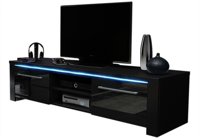 Helix 160 Modern TV Stand High Gloss Fronts And 16 Colors LED, Black  Contemporary