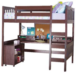 Gabriel Full Size Study Loft, Coffee, With Media Cart
