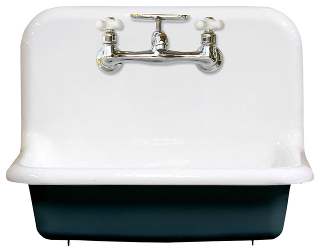 "24"" High Back Farm Sink Cast Iron Original Porcelain Wall Mount, Hague Blue"
