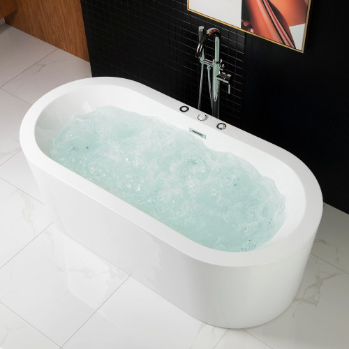 "Woodbridge 67"" Deluxe Whirlpool & Air Bubble Freestanding Bathtub"