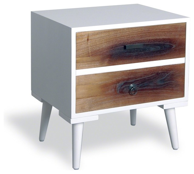 lagoon retro side table with one door white frame burnt timber drawers rustic