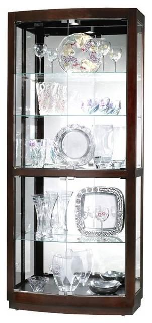 Bradington Curved Glass Door Curio Cabinet In Black Coffee