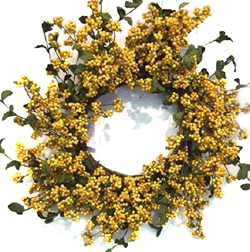 Yellow And Green Berry Front Door Wreath Fall Autumn Thanksgiving Indoor Decor.