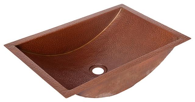 20.5 Trough Hammered Copper Bath Sink, Matte Copper.