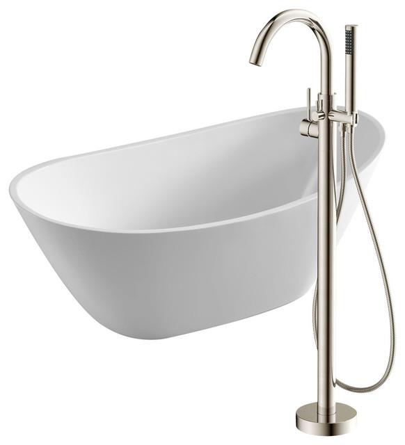 "Cross 67"" Acrylic Flatbottom Bathtub, White, Kros Faucet, Brushed Nickel."