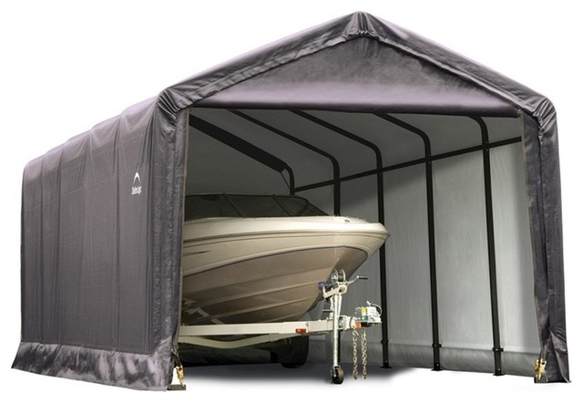 Shelterlogic Sheltertube Garage Shed, Gray, 12&x27;x25&x27;x11&x27;.