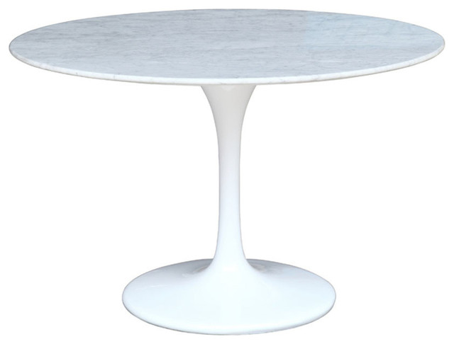"Fine Mod Imports Flower Marble Table 32"", White, 48"""