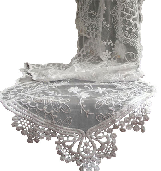Captivating Lace Table Runner, White Traditional Table Runners