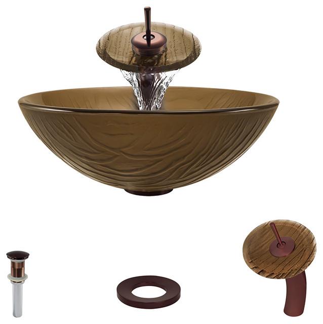 Vessel Sink, Oil Rubbed Bronze, Waterfall Faucet.