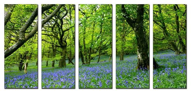 Framed Huge Canvas Print 5-Panel Forest Tree Nature - Modern ...