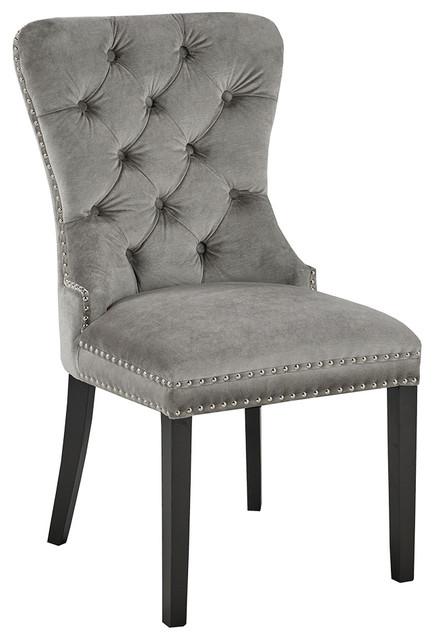 Peyton Diamond Tufted Velvet Upholstered Dining Chairs, Set Of 2, Gray.