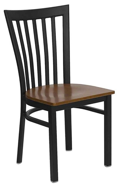 Hercules Schoolhouse Metal Chair w Wooden Seat, Set of 2 by Flash Furniture