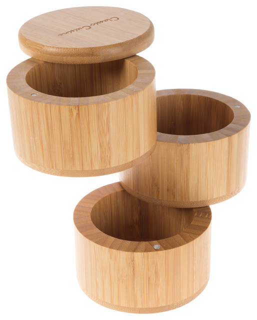 Bamboo 3 Tier Spice Box-Multi Compartment Storage Container By Classic Cuisine.