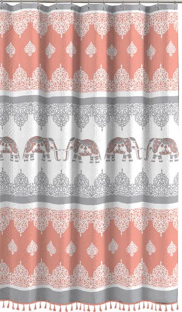 Elephant Fabric Shower Curtain Fun Elegant Orange Coral Gray White With Fringe