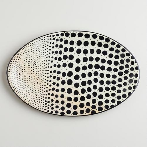 Black and White Soapstone Dot Platter