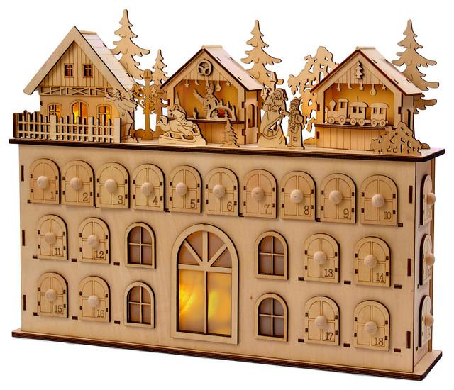 "13"" LED Wooden Advent Calendar Decoration"