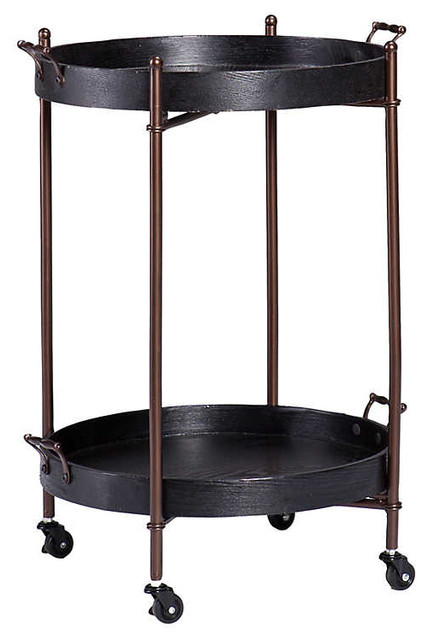 Lindley Two-Tier Round Butler Table, Black