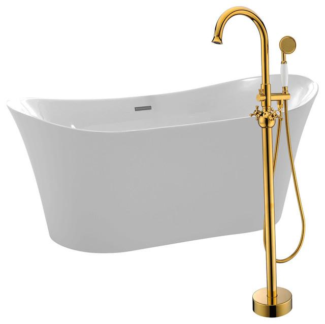 "Anzzi 67"" White Acrylic Soaking Bathtub With Gold Faucet."