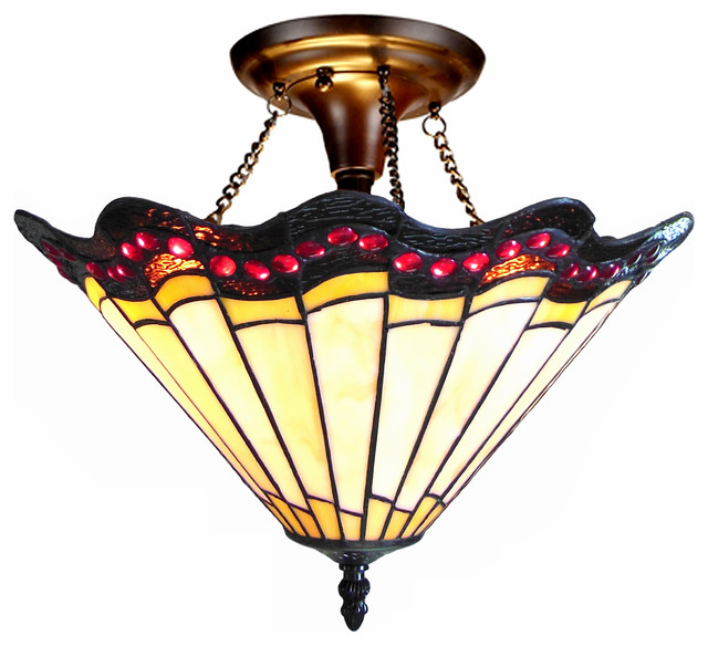 "Adriana, Tiffany-Style 2 Light Baroque Semi-Flush Ceiling Fixture, 16"" Shade."