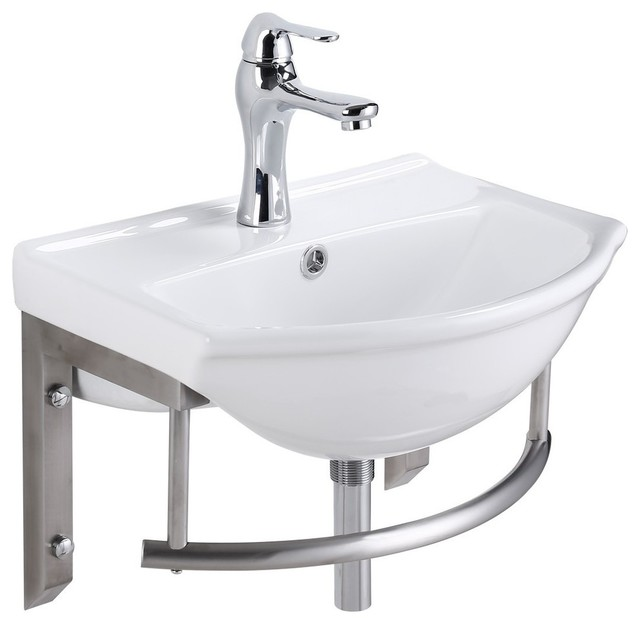 Small Wall Mount Bathroom Sink With Stainless Steel Towel Bar Faucet And Drain