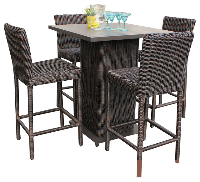 Rustico Wicker Outdoor Pub Table With Bar Stools 5 Piece Set Tropical Outdoor Pub And