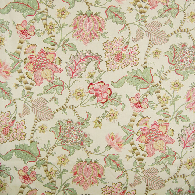 english cream pink floral made in usa linen upholstery fabric