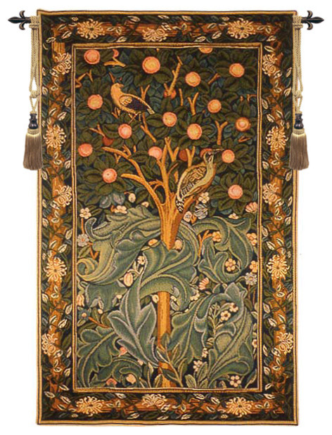 """Woodpecker Without Verse, European Wall Tapestry, 48""""x30 ..."""