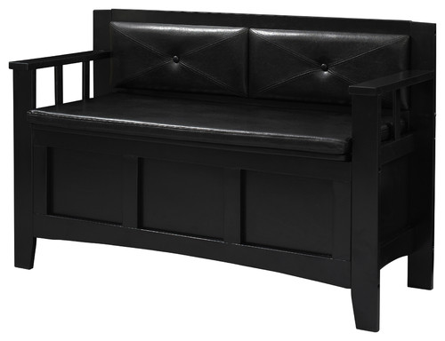 Linon Carlton Padded Bench, Black Finish