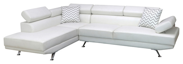 Avery Sectional Sofa, Left-Facing, White.