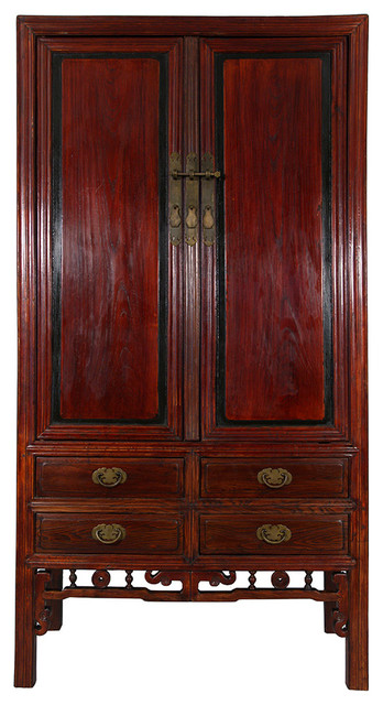 Consigned Antique Chinese Carved Beech Wood TV Armoire - Asian - Armoires And Wardrobes - by ...