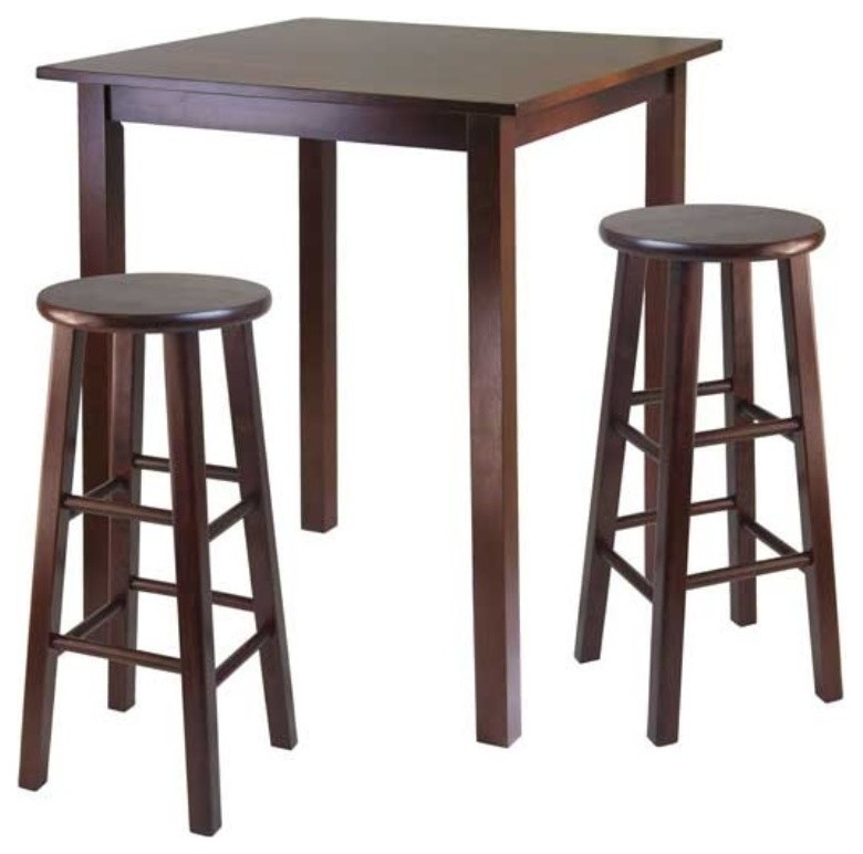 Pemberly Row High Pub Square Table in Antique Walnut Finish