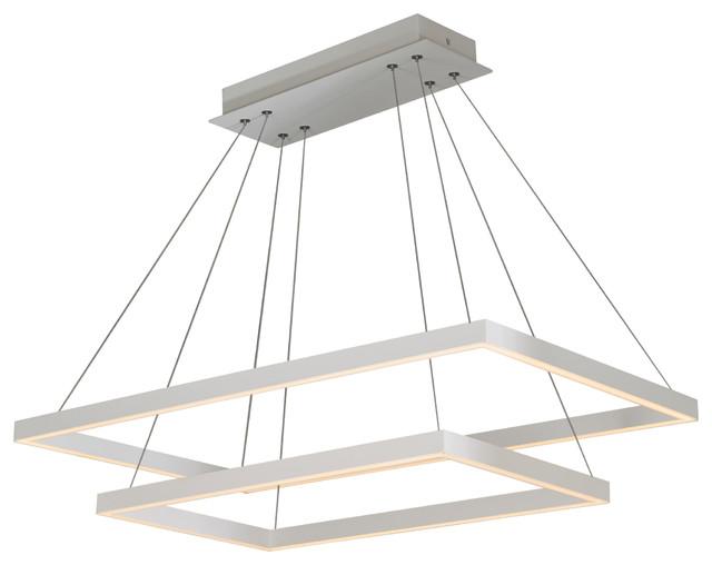 Atria Duo LED Adjustable 2-Tier Chandelier, White