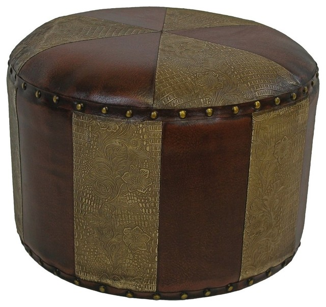 Mini Round Faux Leather Stool Traditional Footstools