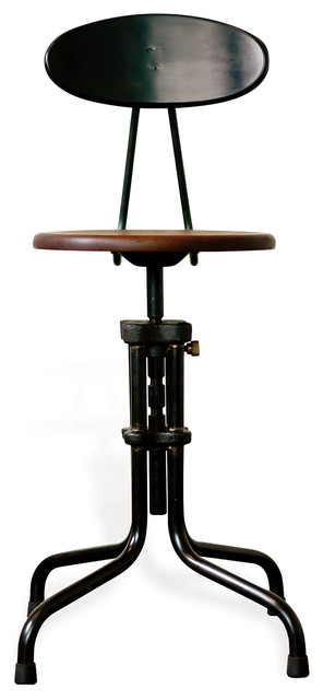 Brexton Adjustable Cast Iron Stool With Back