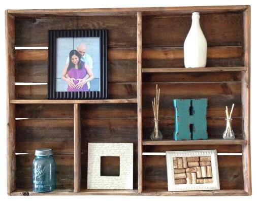 Hexon Reclaimed Wood Wall Shelf Rustic Display And
