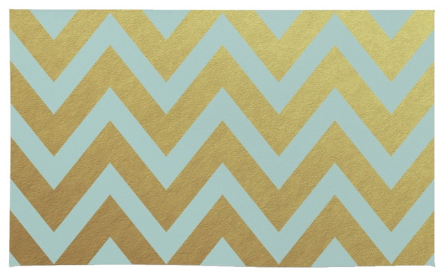 Society6 Robins Egg Blue and Gold Chevron Rug, 4u0027X6u0027 contemporary-area