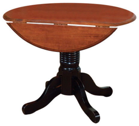 A America British Isles 42 Round Double Drop Leaf Dining Table Oak Black