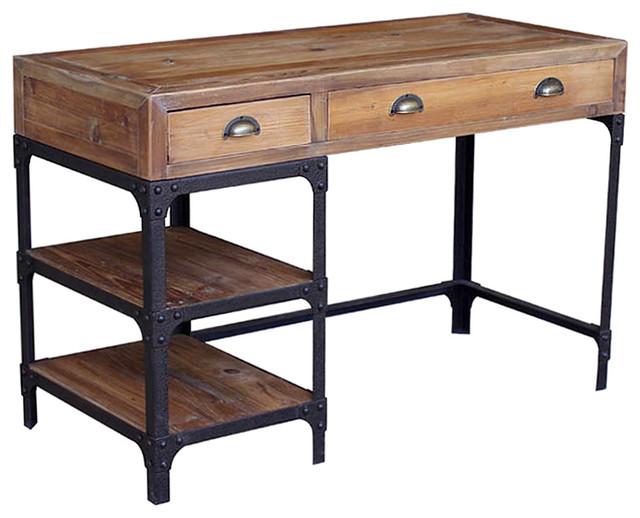 Luca Reclaimed Wood Rustic Iron Industrial Loft Desk.