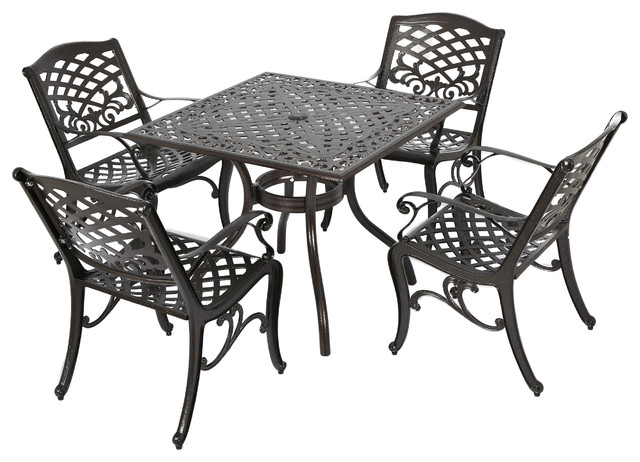 Odena Outdoor 5 Piece Dining Set, Bronze Traditional Outdoor Dining Sets