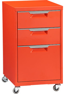 TPS Bright Orange File Cabinet - Modern - Filing Cabinets - by CB2